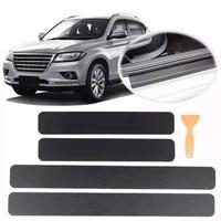 4pcs car door sill protector bumper protector carbon fiber car wrap film automotive wrap film self adhesive anti collision