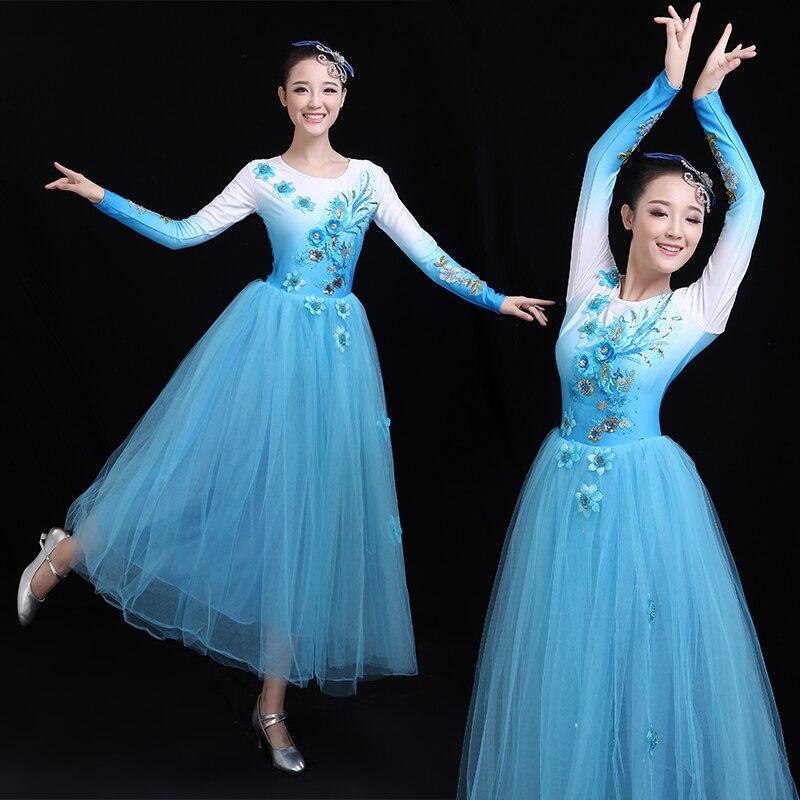 H2609 المرأة فستان رقص الإناث الصينية الشعبية ساحة الرقص المهنية أزياء مسرحية راقصة ممارسة فساتين طويلة الأكمام