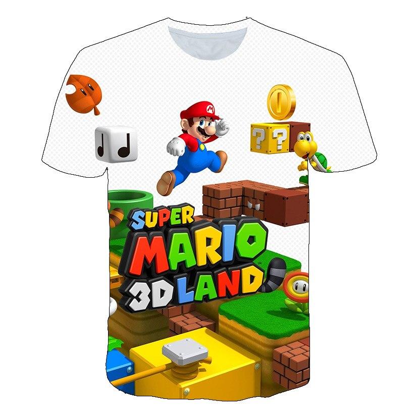 020 verano moda Niño camiseta niños camiseta dibujos animados Super Mario 3D imprimir niños niñas camisetas