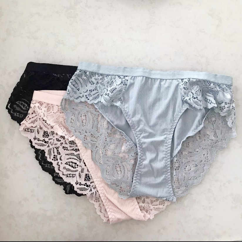 3Pcs Women Cotton Grey Panties Sexy Briefs Lace Panties 2021Women Seamless Underwear Panties for Female Floral Pantys Underpants l bellagiovanna girl s boyshorts panties small sizes female floral underwear briefs sexy lace calcinha lovely underpants 818