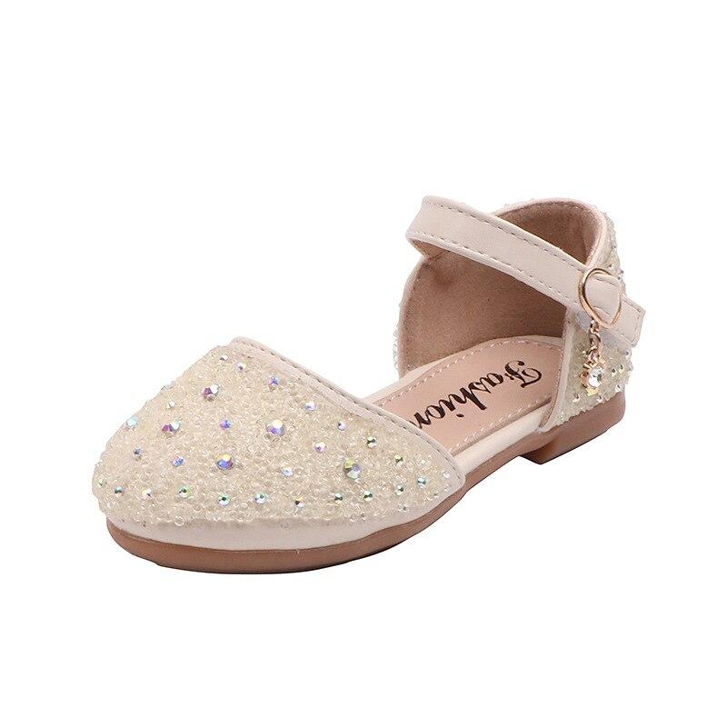أحذية جلدية مرصعة بأحجار الراين للأطفال ، أحذية غير رسمية وأنيقة ، مسطحة ، كريستالات ، أميرة ، أزياء الربيع والصيف