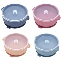 silicone baby feeding bowl with lid non slip sucker kids safety assist waterproof feeding learning bowl dinnerware set bpa free