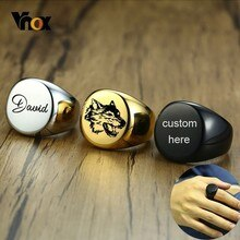 Vnox 20mm Chunky 남자를위한 둥근 최고 인장 반지를 개인화하십시오 광택 무거운 스테인리스 우표 반지 펑크 남자 소년 주문 Anel