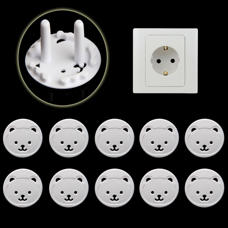 8pcs Bear EU Power Socket Electrical Outlet Baby Kids Child Safety Guard Protection Anti Electric Sh