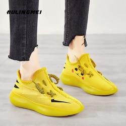 Pikachu coco sapatos femininos 2020 primavera nova moda meias sapatos de malha ar respirável jelly casual feminino preguiçoso sapatos