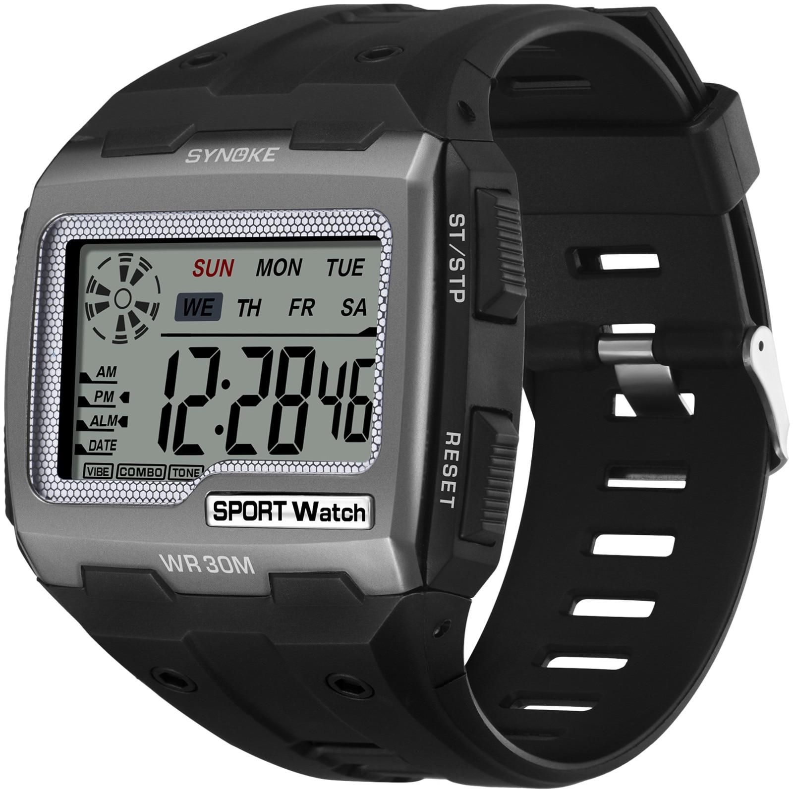 Otoky Fashion Trend Electronic Men Watch Square Led Multifunctional Sports Student Wrist Watch Light
