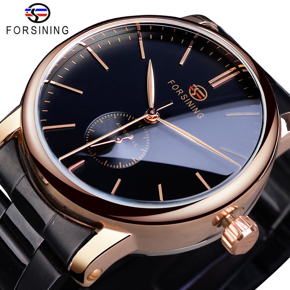Reloj Forsining para hombre, marca de lujo, caja dorada, reloj de moda de acero inoxidable negro para hombre, relojes mecánicos automáticos de negocios