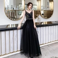 new store promotion on sale evening dress black long prom dress sparking beads sequins top sexy backless