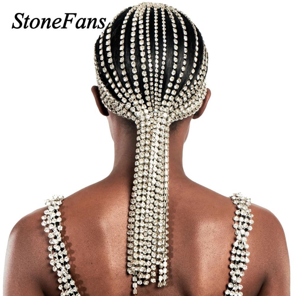 Stonefans-سلسلة شعر طويلة مرصعة بأحجار الراين للنساء ، مجوهرات براقة ، عصابة رأس من الكريستال الفاخر ، مجوهرات الزفاف للشعر ، هدية