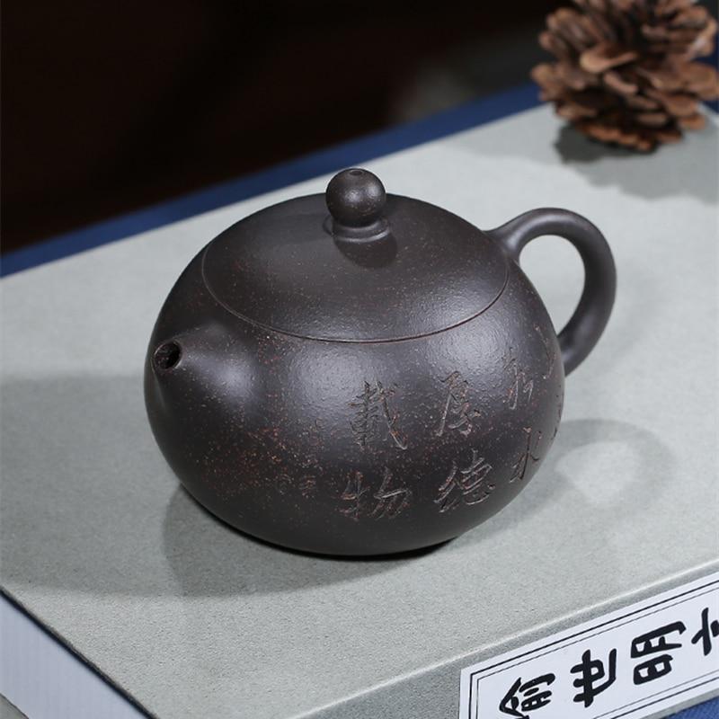 إبريق شاي yixing zisha من الطين الأسود المحفور يدويًا, وعاء شاي xishi مصنوع يدويًا ، خام أصلي