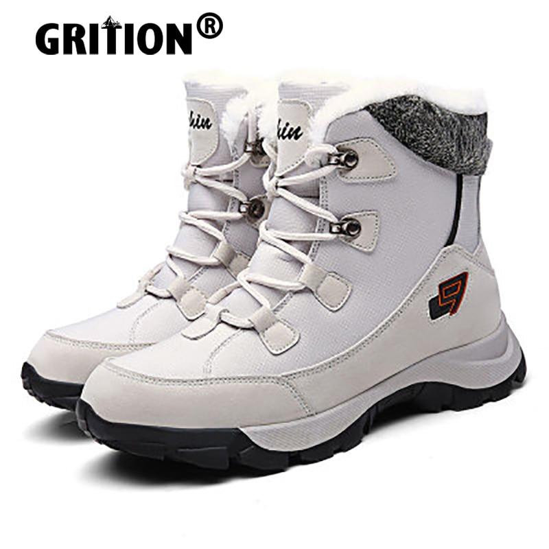 GRITION Womens Hiking Ankle Boots Outdoor Warm Fur Mens Sport Shoes Trekking Winter Mountain Waterpr
