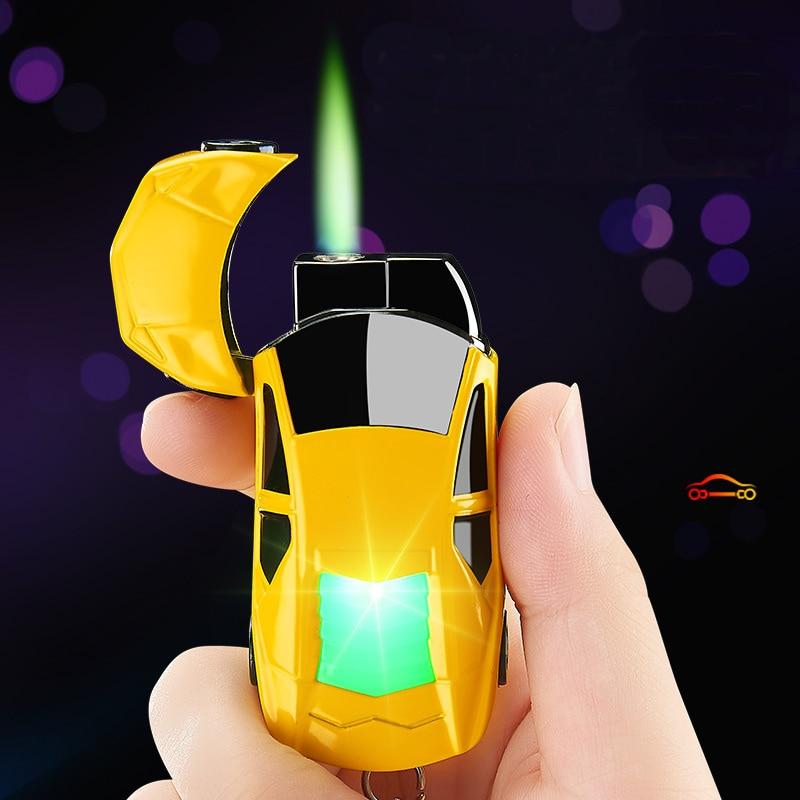 New Torch Turbo Lighter Creative LED Car Jet Butane Gas Inflated Cigar key Ring Lighter Cigarette Green Flame Lighter Windproof