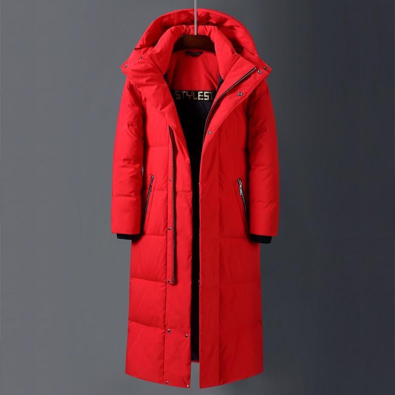 Мужские и женские длинные куртки на белом утином пуху, новинка 2021, зимние утепленные куртки выше колена со съемной шапкой, мужские куртки, Ка...