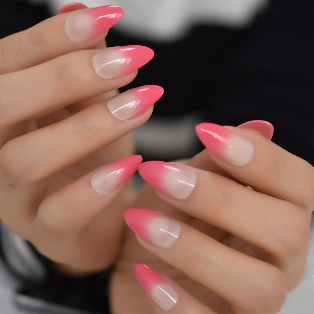 Ombre Rosa francés falso uñas Stiletto de prensa de falsa Ongles uñas Consejos Oficina diaria desgaste dedo