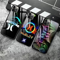 luxury sport brand hurley phone case tempered glass for iphone 12 pro max mini 11 pro xr xs max 8 x 7 6s 6 plus se 2020 case