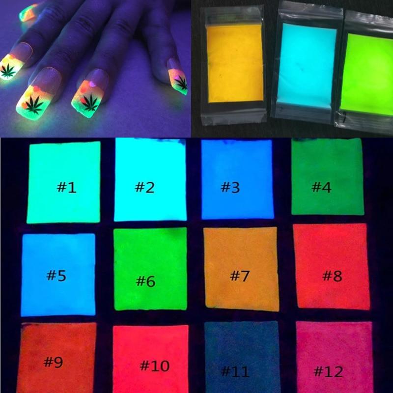 Pó fluorescente para unhas, efeito fluorescente brilha no escuro, 10g, 12 cores de longa duração