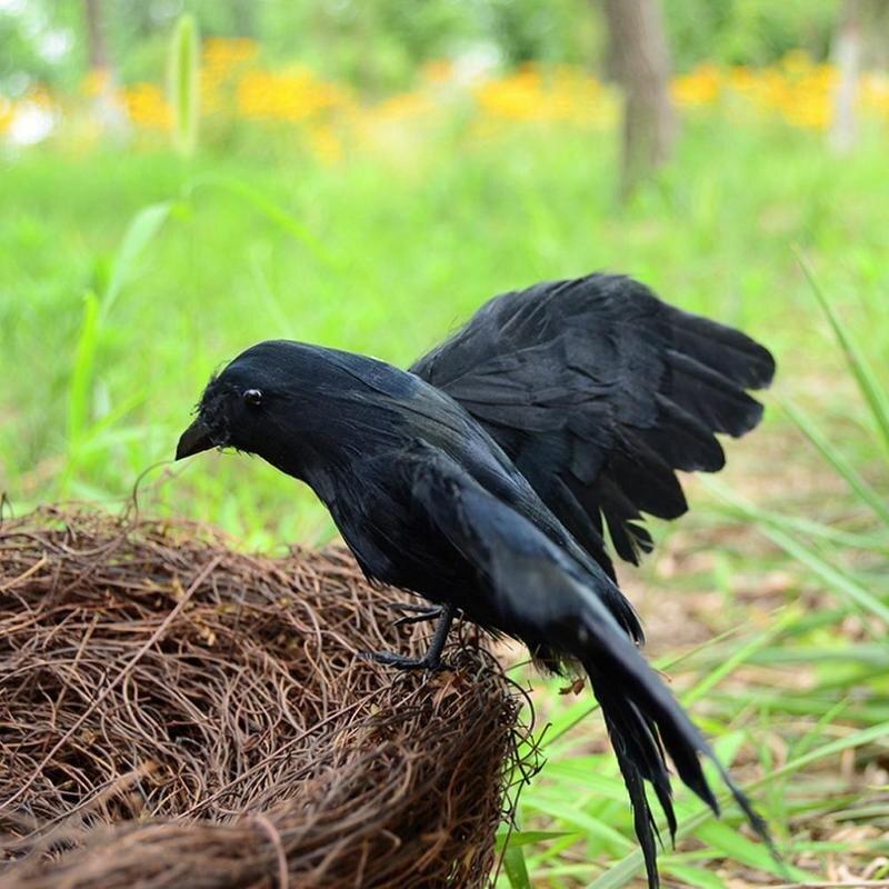 Fake Bird Hunting Realistic PE Black Yard Crow Hunting Decoy Garden Bird Deter Scarer Scarecrow Pest