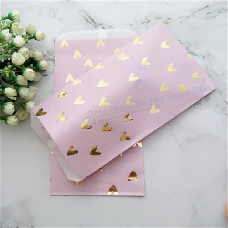 500 Uds. Bolsa de papel Lalic Gold Heat, bolsa plana de papel de boda, bolsas de regalo de dulces, bolsas de embalaje de alimentos, bolsas de palomitas de papel artesanales