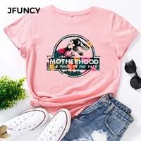 jfuncy casual cotton t shirt women t shirt motherhood letter printed oversized woman harajuku graphic tees tops