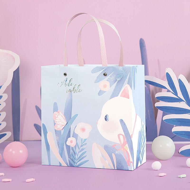 Lindo gato bolsas de regalo con portátil bebé regalos para fiesta de bebé bolsas de papel para caja de regalo de embalaje de бумажные пакеты bolsas regalo 10 Uds