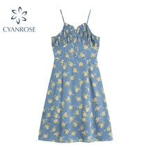 Fashion Sexy Floral Print Dress Women 2021 Summer New Prairie Chic Buttons Party Vestiods Elegant Sp