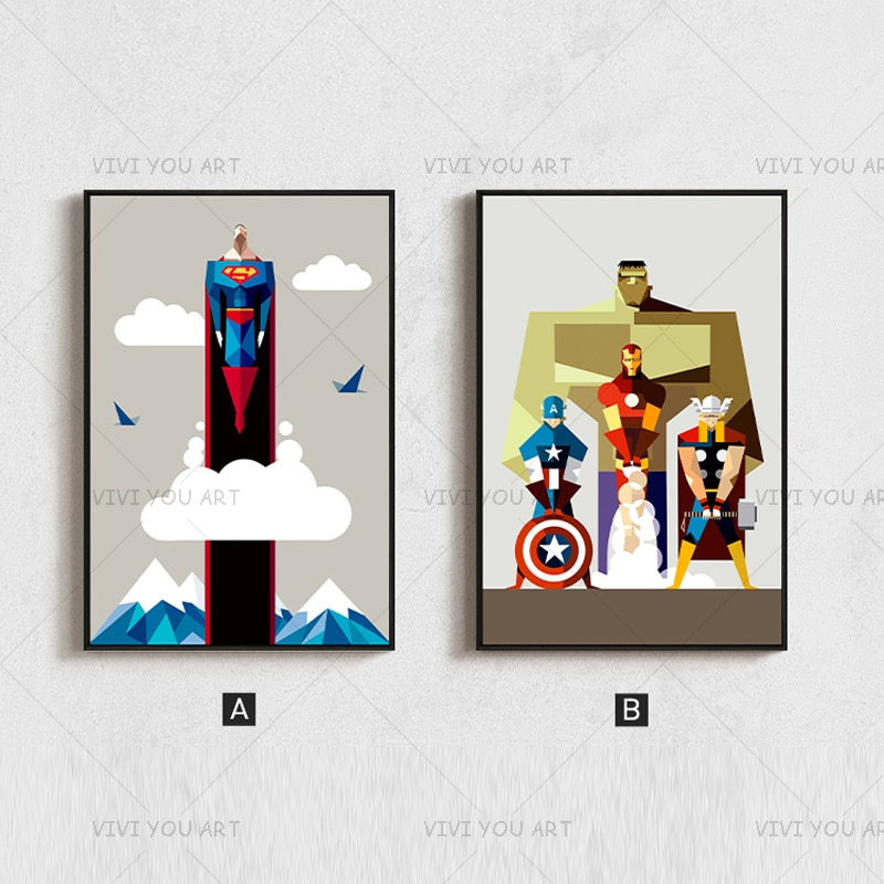 Nuevo cuadro sin marco moderno pintado a mano Superman Marvel pintura al óleo abstracta lienzo arte decoración de pared del hogar