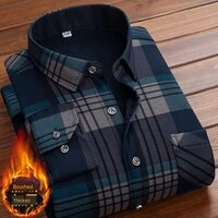 formal shirt for men 2021 long sleeve fleece warm plaid oversized plaid collar shirt winter velvet clothing warm plaid shirt 5xl