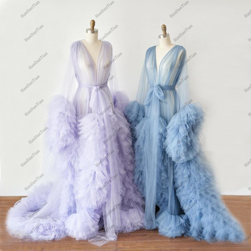 2021 Ladies Dressing Gown Perspektive Sheer Long Robe Fluffy Dessous Fotografie
