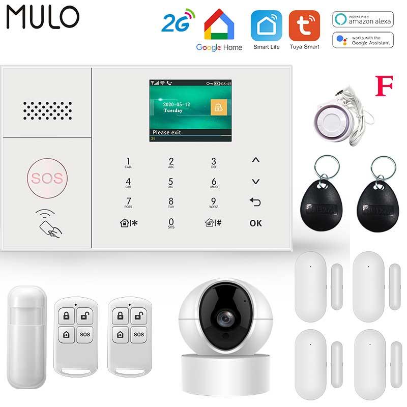 MULO Wifi GSM Simply Safe Alarm System for Home Business Wireless Tuya Smart Home SMS APP Control Burglar Alarm DIY Kit PG108