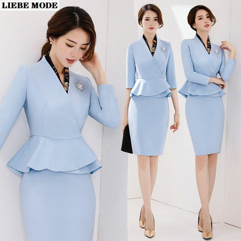 مكتب موحد تصاميم السترة و تنورة مجموعة الكورية نمط بدلة رسمية للنساء الأعمال الأزرق تنورة دعوى المهنية الفاخرة