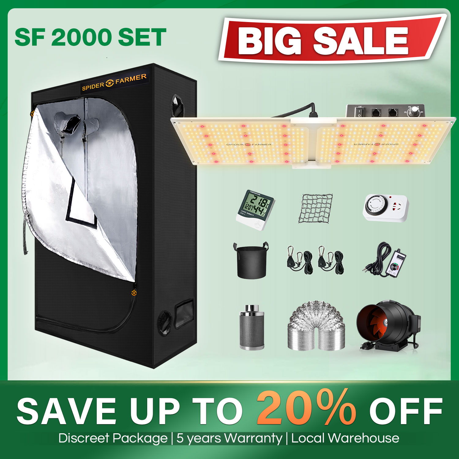 Spider Farmer SF 2000W and 120x60cm Tent Kits Carbon Filter with Samsung Led LM301D Dimmer LED Grow Light Full Spectrum Lamp