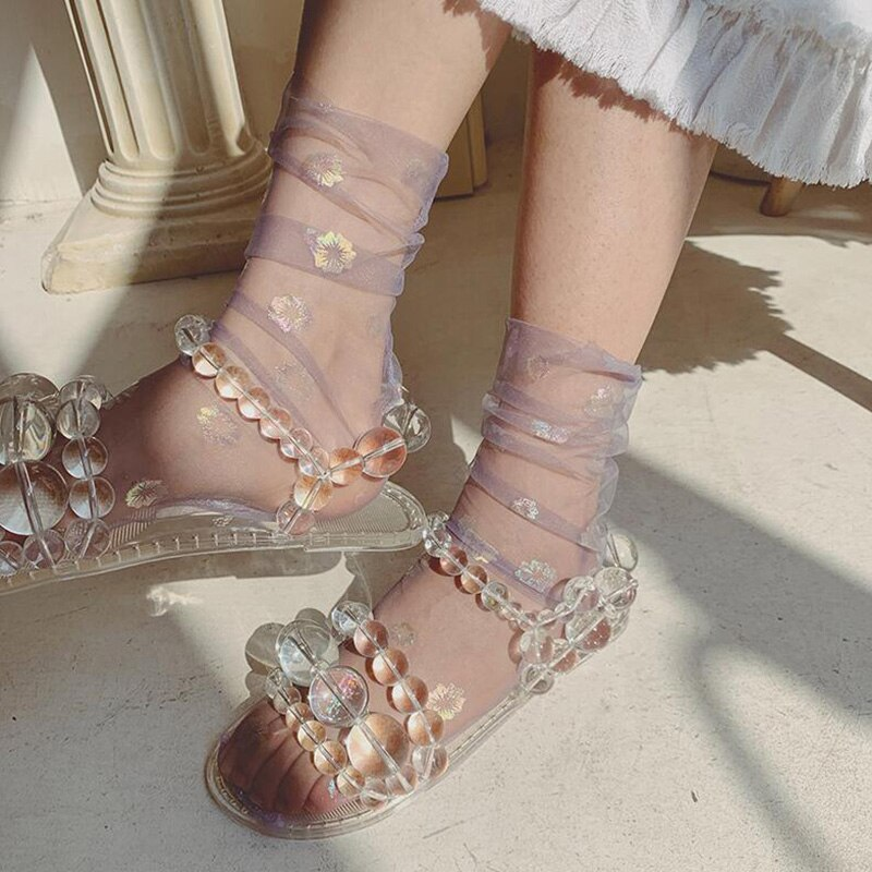 Shine Ultra-thin Calcetines de tul mujeres transparente flor gasa Calcetines tobillo encaje Calcetines divertidos Femme Streetwear Calcetines Majur