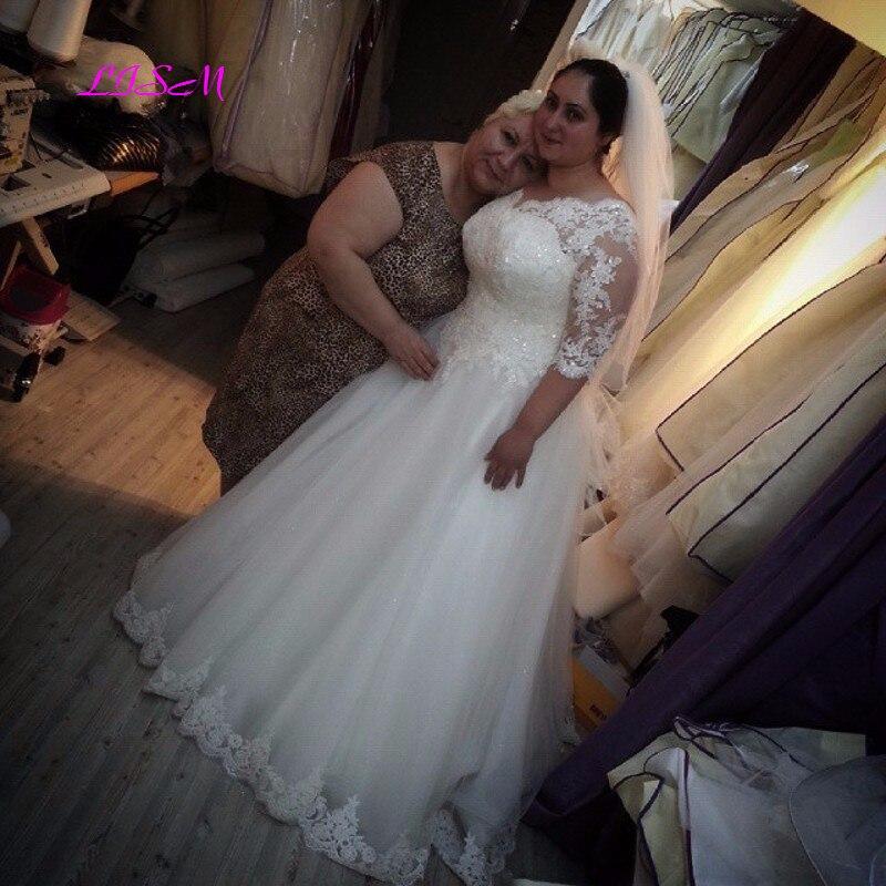Plus Size Wedding Dress 2020 V-Neck Half Sleeves Bridal Dresses Elegant Lace Appliques Tulle Wedding Bridal Gowns недорого