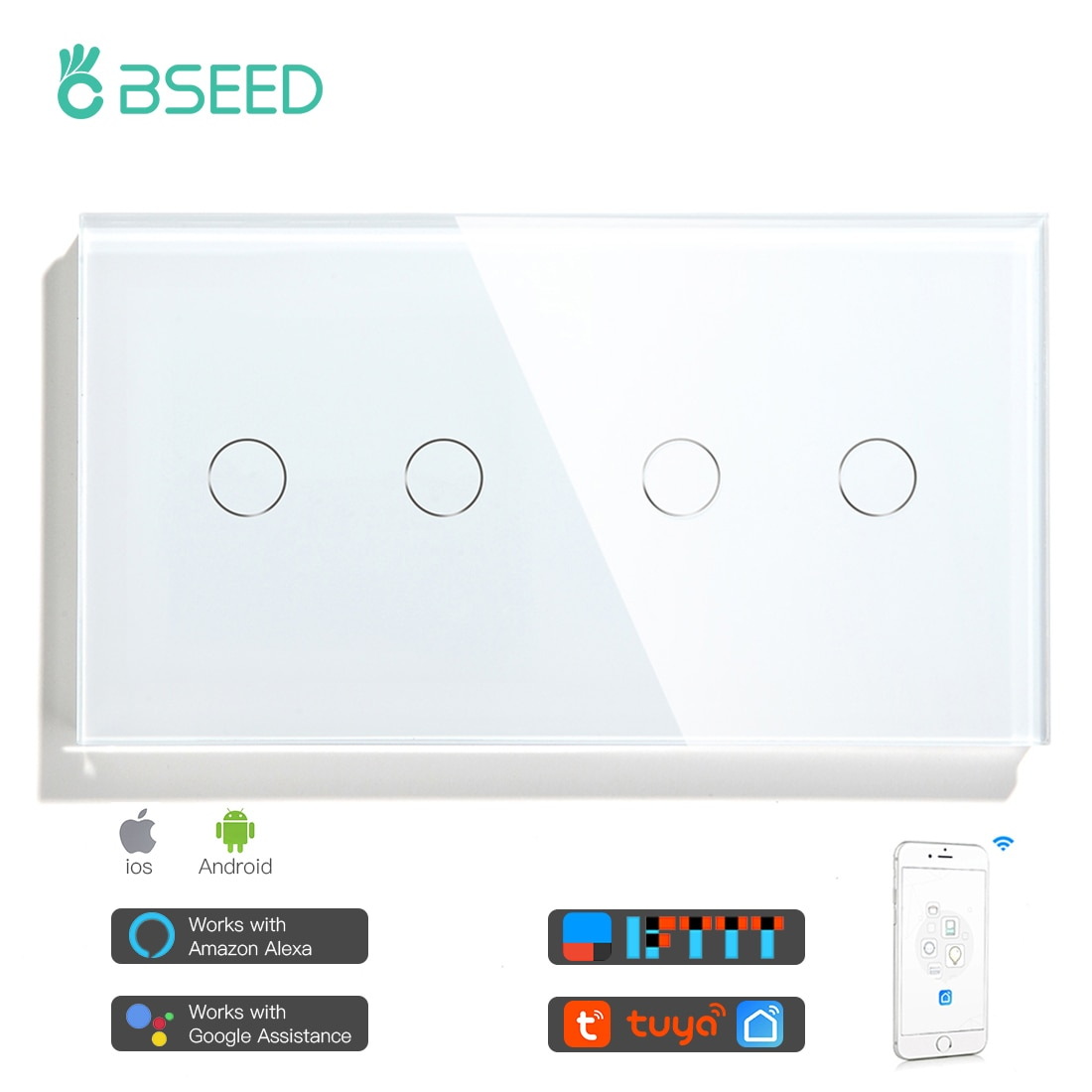 Bseed 4 Gang 1/2/3way Wifi Control Light Switch Touch Switch Wall Switch Crystal Class Panel Fashion Smart Switch Work With Tuya