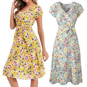 Dress Summer платье Fashion Womens Casual Daily V Neck Holiday Print Dress Ladies Short Sleeve Sashes Waist Party Beach Dress