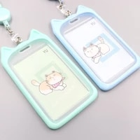 1pc bank identity bus id card holder wallet cute cartoon cat credit cover case holder with retractable reel lanyard for women