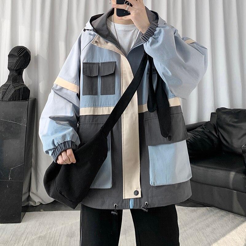 Мужская куртка в стиле пэчворк, повседневная весенняя куртка контрастных цветов, 2021
