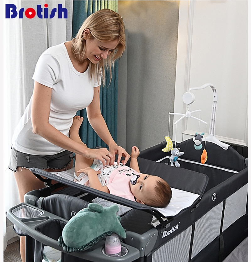 Brotish Crib splicing large bed removable bb multi-function portable folding newborn baby bedside bed cradle bed enlarge