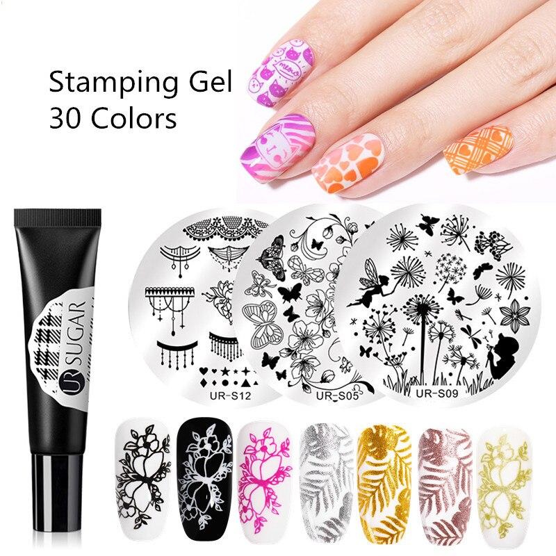 UR SUGAR Nail Stamping Gel Polish 8ml Black White Stamp Print Oil UV Gel varnish Soak Off Varnish for Nail Art Stamping Plate
