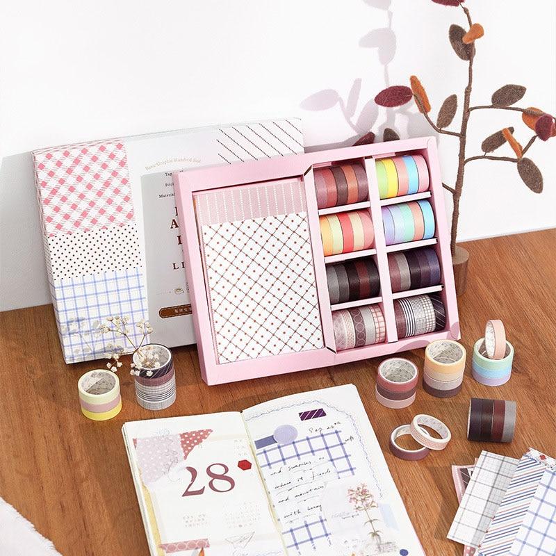 Fita washi presente conjunto 40 pçs cor sólida fita de mascaramento mais 80 pçs adesivo material papel diário scrapbooking decoração papelaria