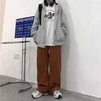 houzhou harajuku vintage 90s brown corduroy pants women oversize korean fashion pink high waist wide leg trousers for female