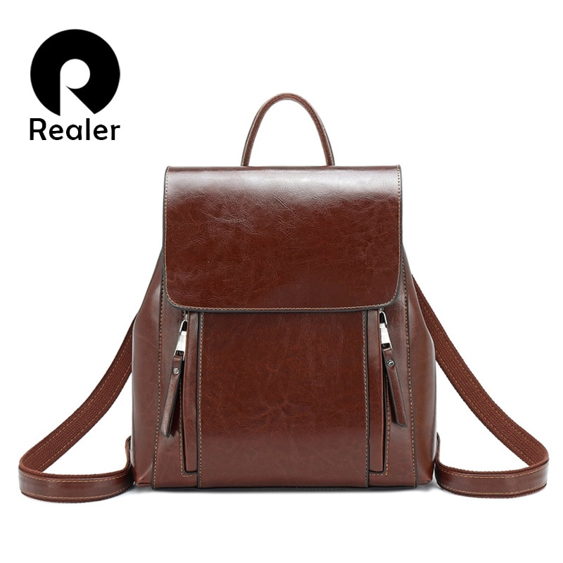 REALER retro women backpack school bags for teenager girls leather school backpack for women large Capacity mochila shoulder bag casual backpack female brand leather women s backpack large capacity school bag for girls double zipper leisure shoulder bags