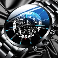 geneva luxury watch men stainless steel wristwatches relogio masculino calendar business man watch clock watches reloj hombre