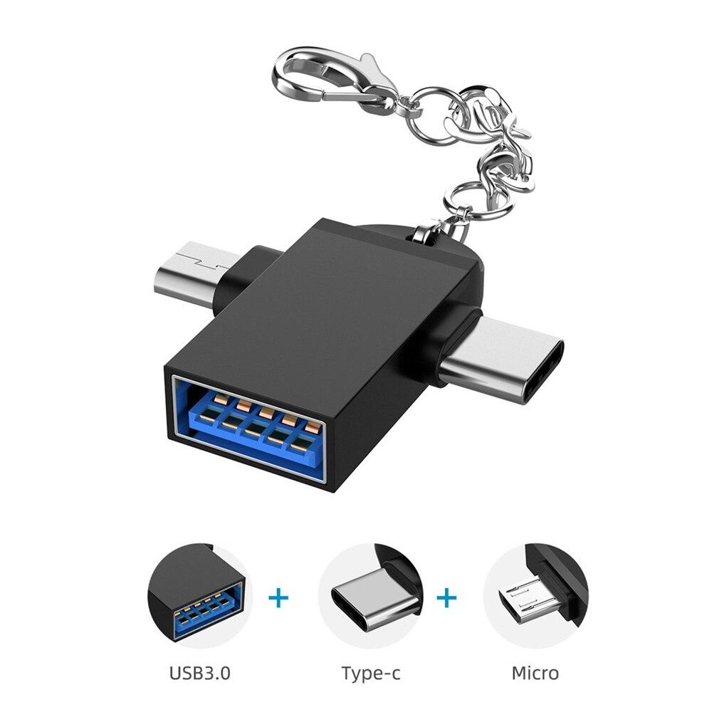 Feniores-convertidor USB 2 en 1, adaptador para Mac Book, teléfonos inteligentes, portátil y tableta, USB 3,0, Micro USB tipo C OTG tipo C