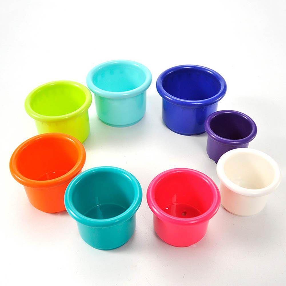 8Pcs/Set Baby Bathroom Beach Stacking Cup Children Kids Educational Develop Toys develop kids' hand-eye coordination imagination