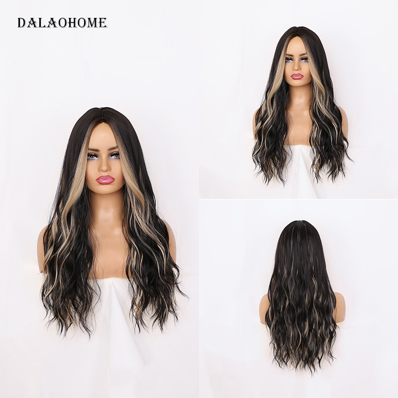Dalaohome Ombre Hair Wig For White Black Woman Natural Daily Blonde Brown Wigs Heat Resistant Fiber Lolita Hairs Wavy Fashion
