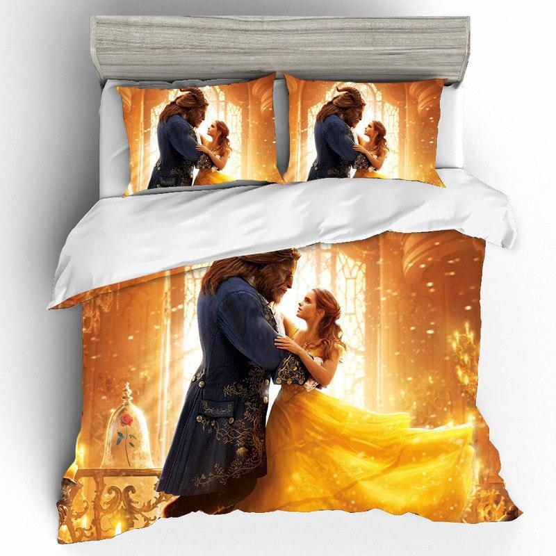 King size 3d impressão conjuntos de cama beleza e a besta jogo cama capa edredão lençóis fronhas roupa casa têxtil