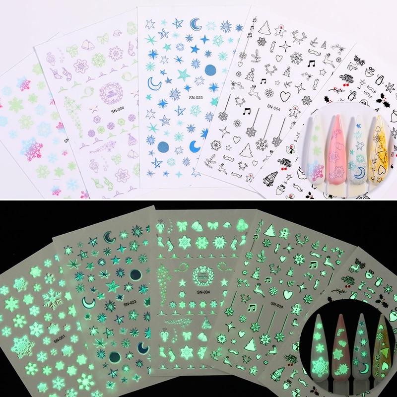 Светящиеся наклейки для дизайна ногтей Рождественские узоры Снежинки 3D наклейки для украшения ногтей Переводные Светящиеся в темноте 1 лист