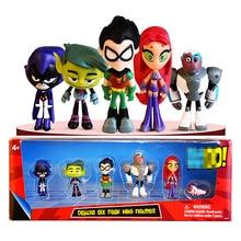 """Teen 6-pacote titãs ir brinquedos figura de ação 2 """"robin besta menino raven cyborg starfire silkie raven original brinquedos para crianças"""