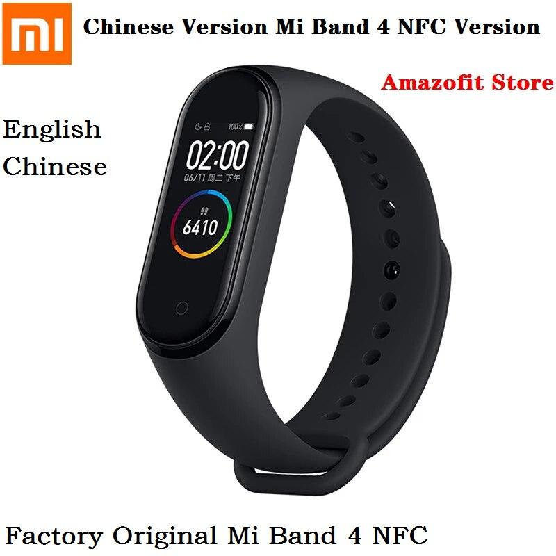 مصنع الأصلي شاومي Mi الفرقة 4NFC النسخة الصينية Smartband اللياقة البدنية تراكر مقاوم للماء 0.95